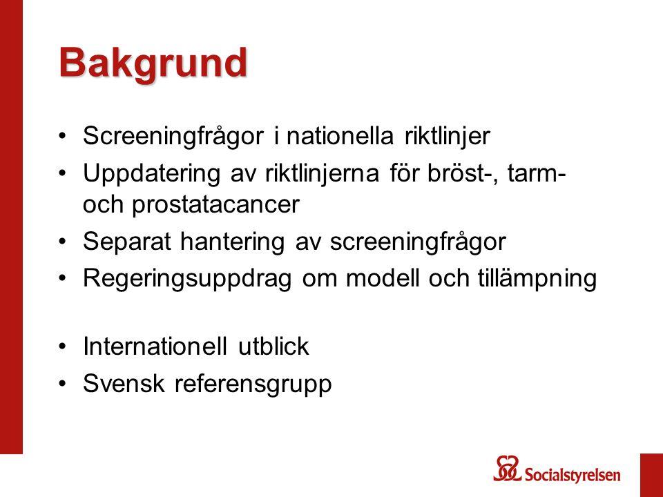 Bakgrund Screeningfrågor i nationella riktlinjer