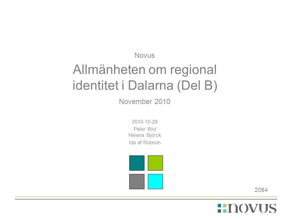Novus Allmänheten om regional identitet i Dalarna (Del B)