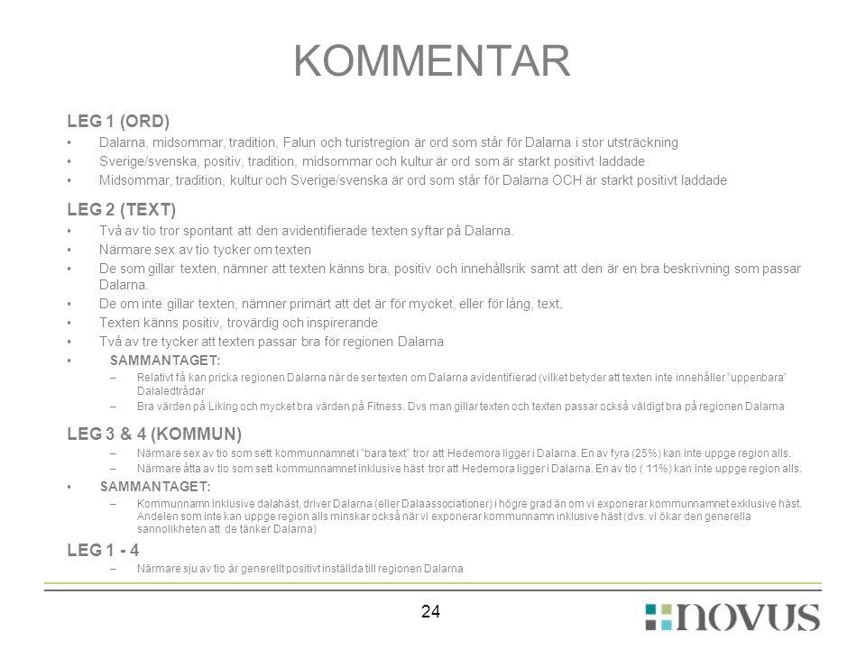 KOMMENTAR LEG 1 (ORD) LEG 2 (TEXT) LEG 3 & 4 (KOMMUN) LEG 1 - 4