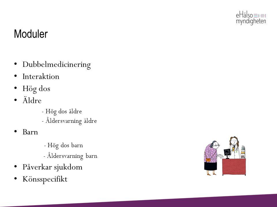 Moduler - Hög dos barn Dubbelmedicinering Interaktion Hög dos Äldre