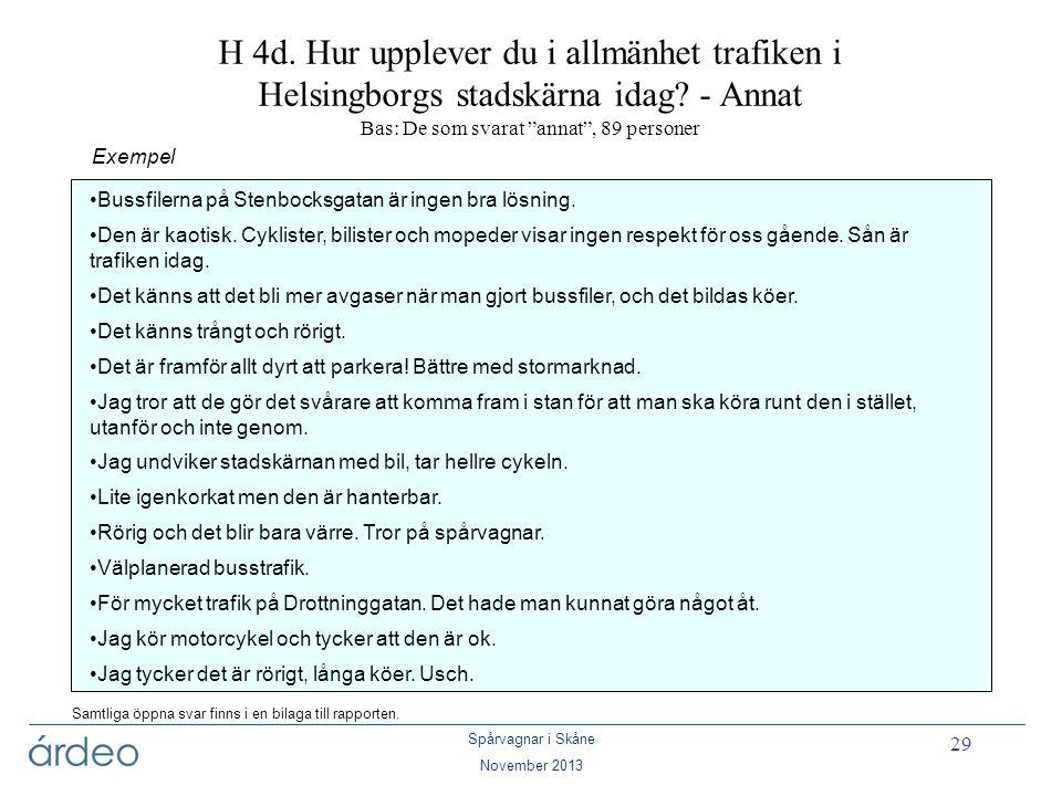H 4d. Hur upplever du i allmänhet trafiken i Helsingborgs stadskärna idag - Annat Bas: De som svarat annat , 89 personer