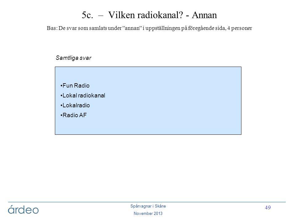 5c. – Vilken radiokanal - Annan Bas: De svar som samlats under annan i uppställningen på föregående sida, 4 personer