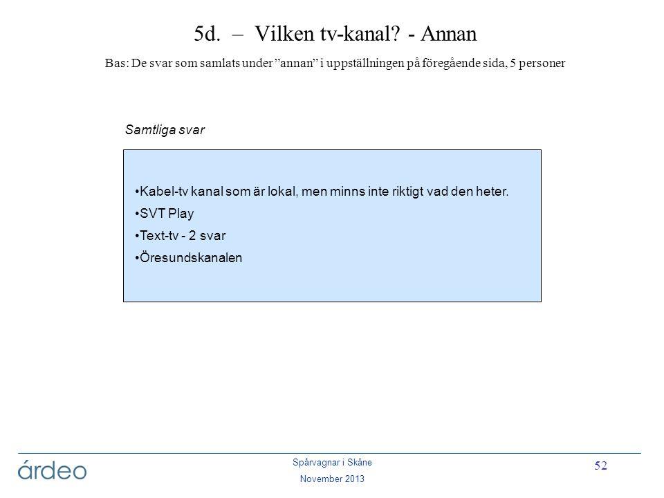 5d. – Vilken tv-kanal - Annan Bas: De svar som samlats under annan i uppställningen på föregående sida, 5 personer