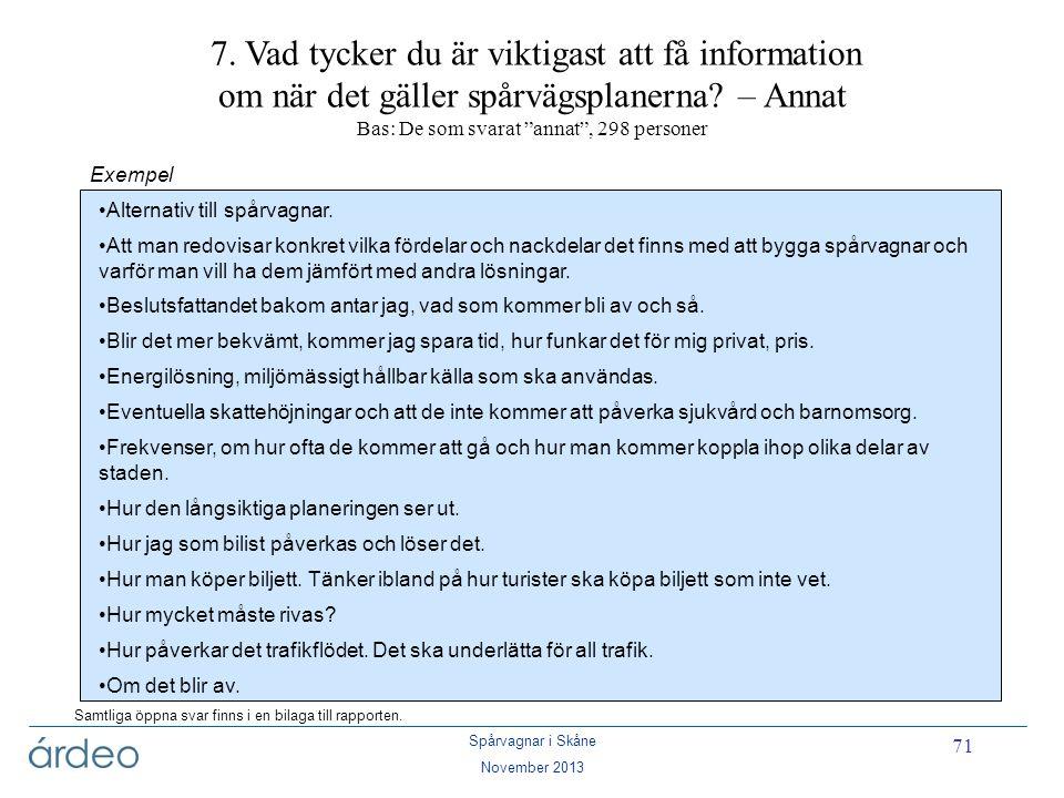 7. Vad tycker du är viktigast att få information om när det gäller spårvägsplanerna – Annat Bas: De som svarat annat , 298 personer