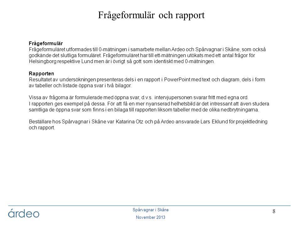 Frågeformulär och rapport
