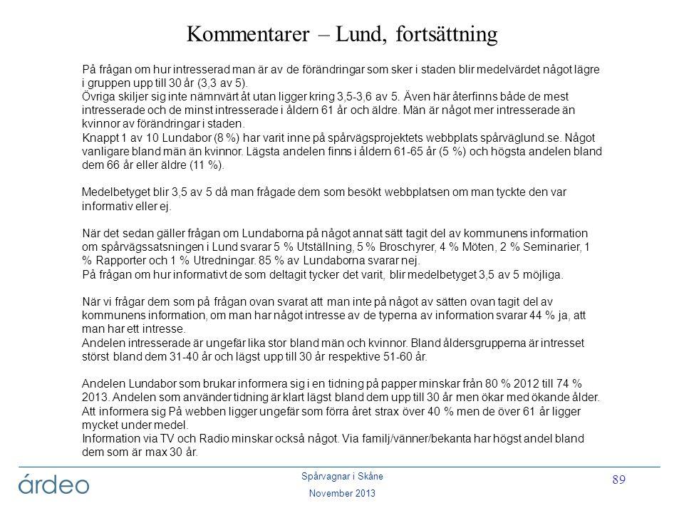 Kommentarer – Lund, fortsättning