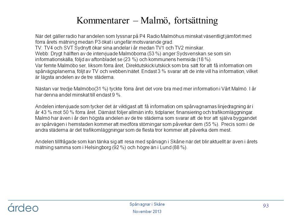 Kommentarer – Malmö, fortsättning