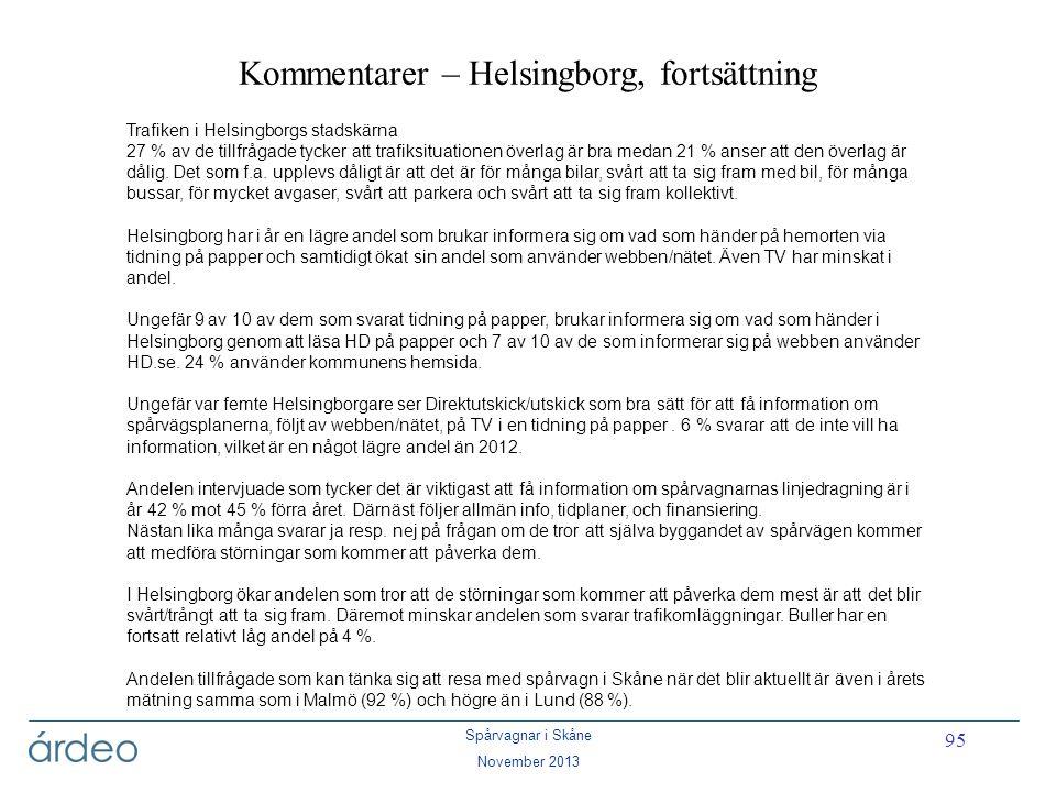 Kommentarer – Helsingborg, fortsättning