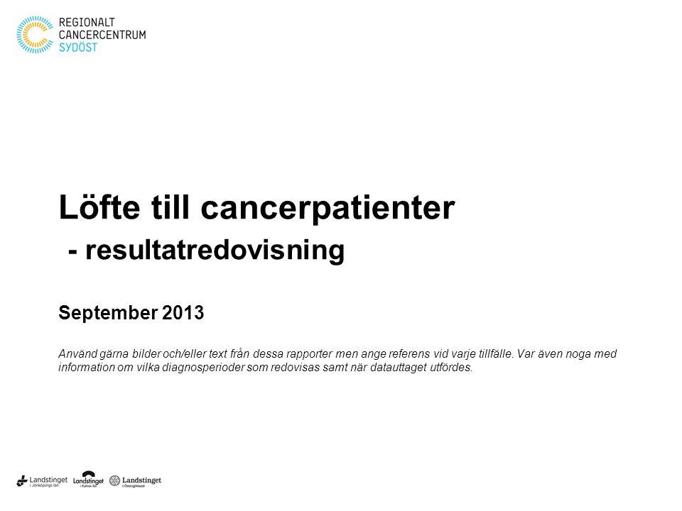 Löfte till cancerpatienter - resultatredovisning September 2013 Använd gärna bilder och/eller text från dessa rapporter men ange referens vid varje tillfälle.
