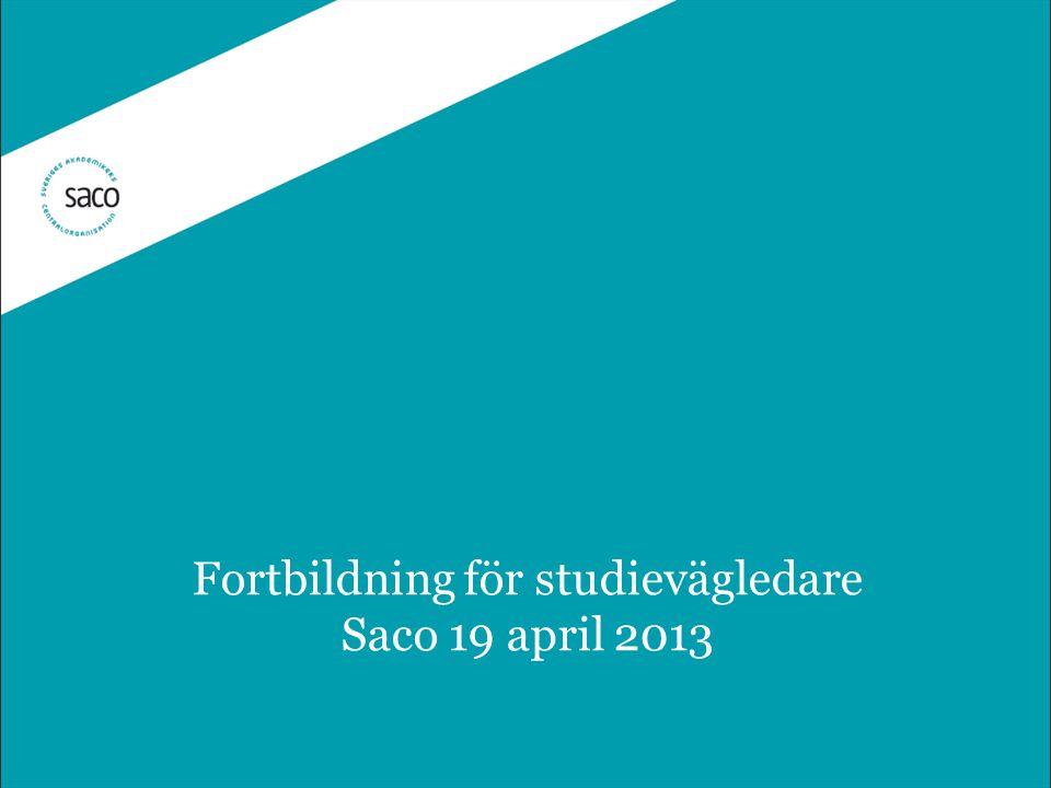 Fortbildning för studievägledare Saco 19 april 2013