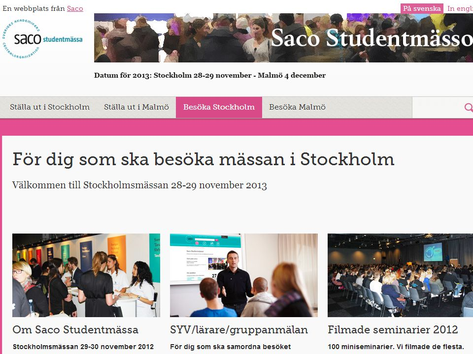 Saco Studentmässor 21 000 besökare i Stockholm och 4300 i Malmö 2012