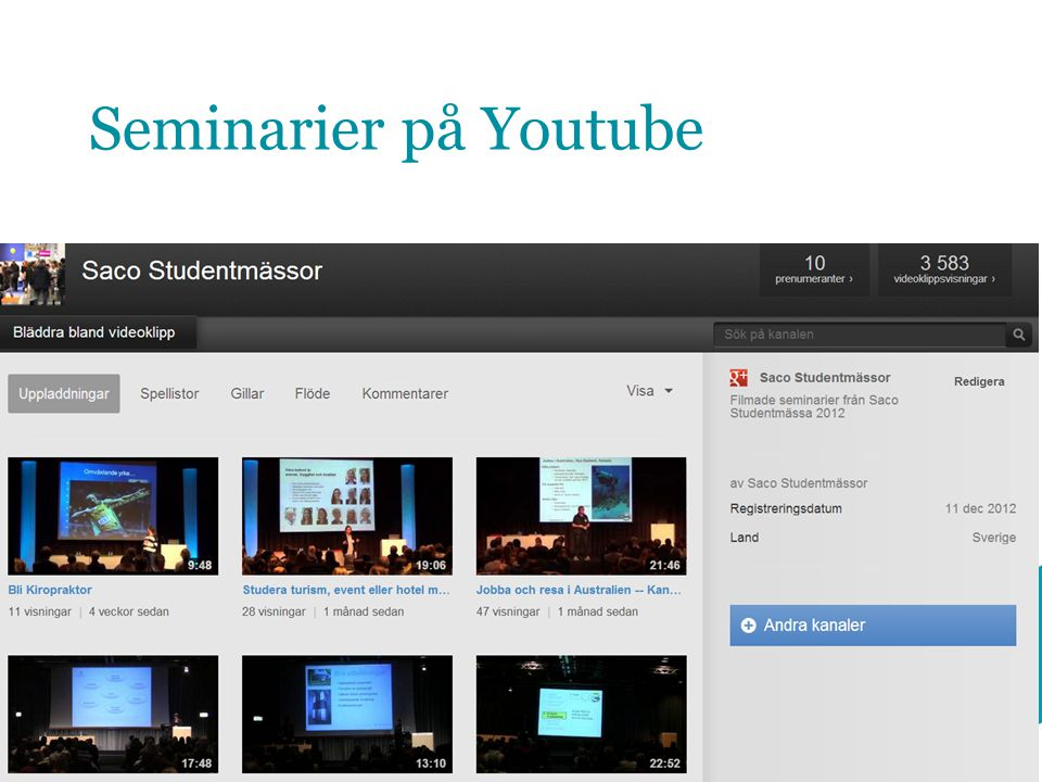 Seminarier på Youtube