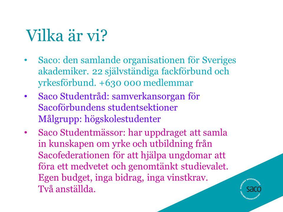 Vilka är vi Saco: den samlande organisationen för Sveriges akademiker. 22 självständiga fackförbund och yrkesförbund. +630 000 medlemmar.