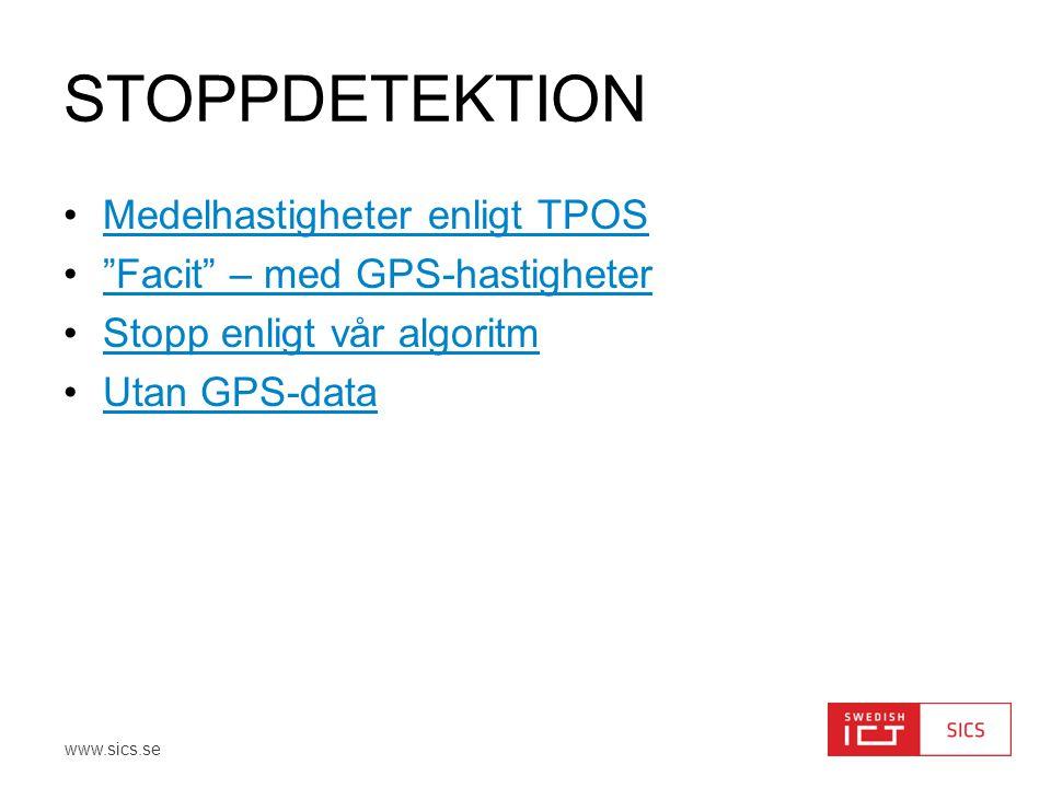 Stoppdetektion Medelhastigheter enligt TPOS