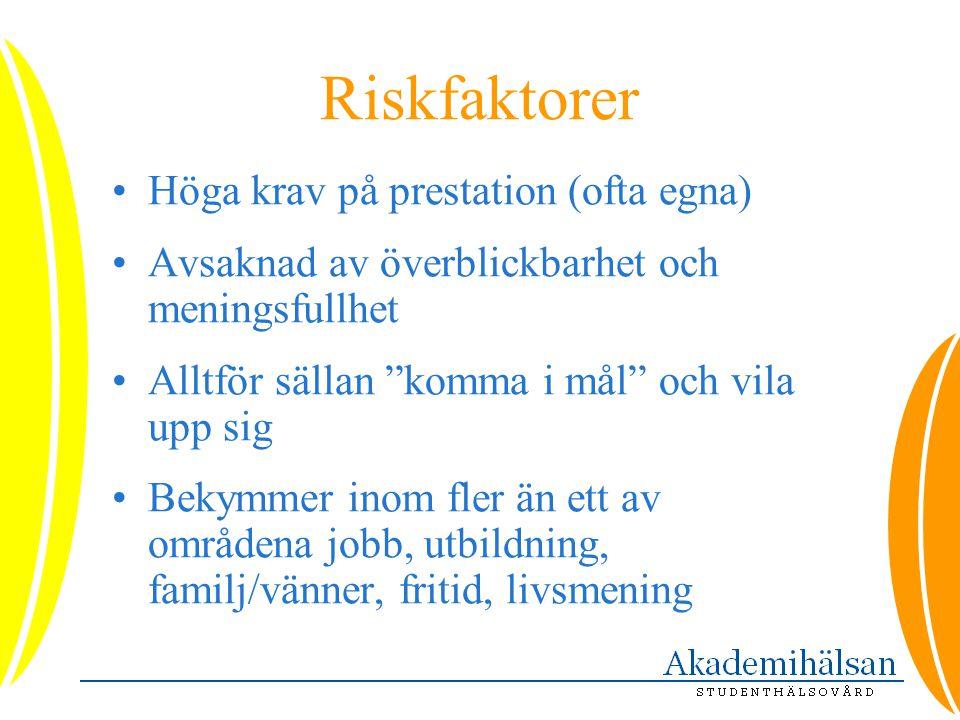 Riskfaktorer Höga krav på prestation (ofta egna)