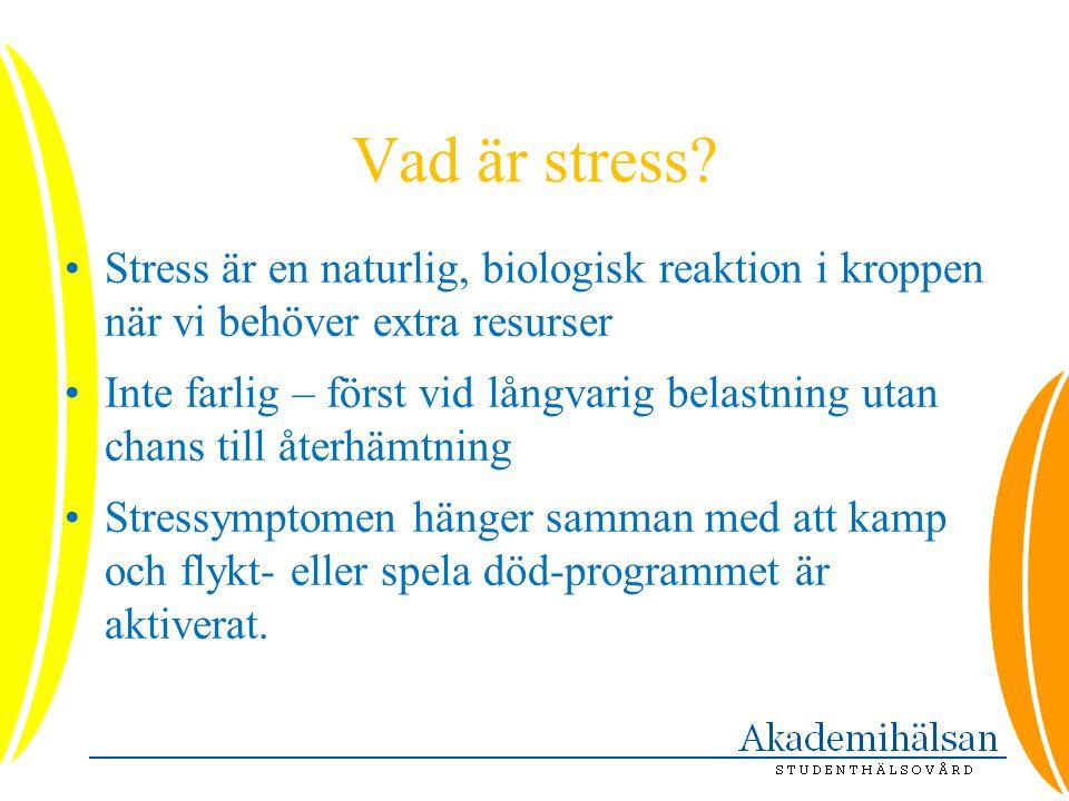 Vad är stress Stress är en naturlig, biologisk reaktion i kroppen när vi behöver extra resurser.