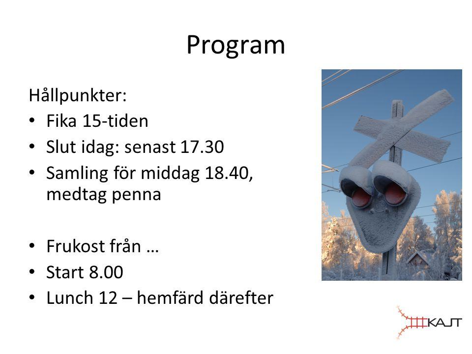 Program Hållpunkter: Fika 15-tiden Slut idag: senast 17.30