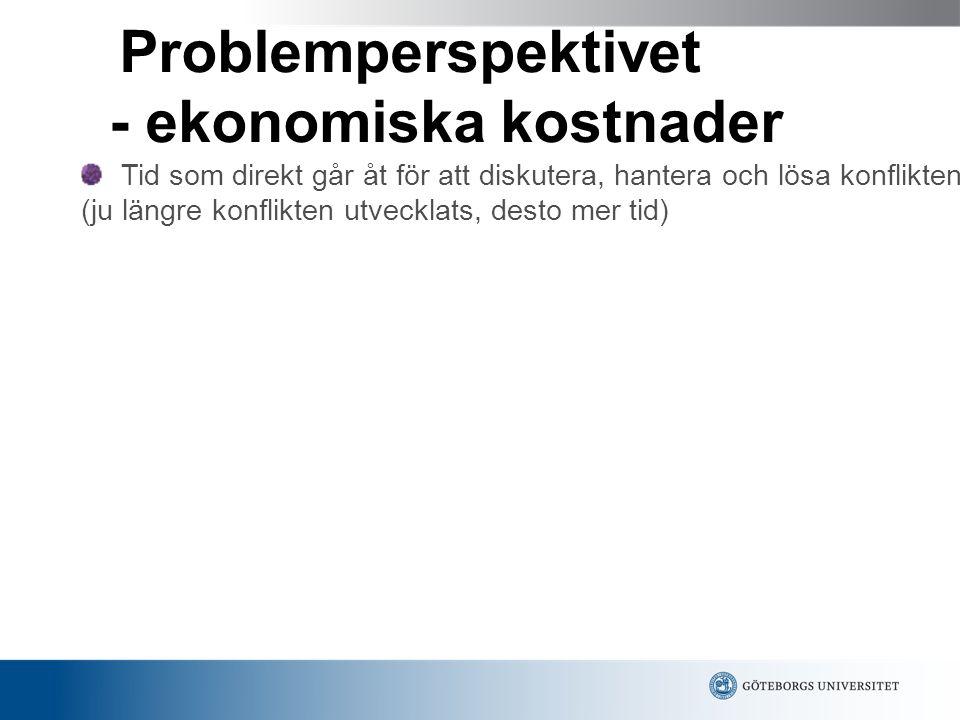 Problemperspektivet - ekonomiska kostnader