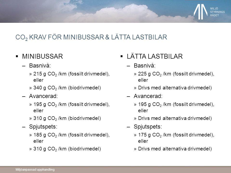 CO2 krav för minibussar & lätta lastbilar
