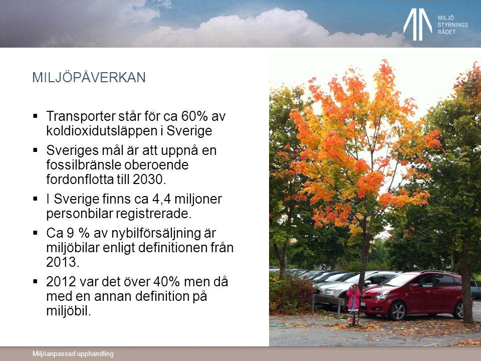 Transporter står för ca 60% av koldioxidutsläppen i Sverige