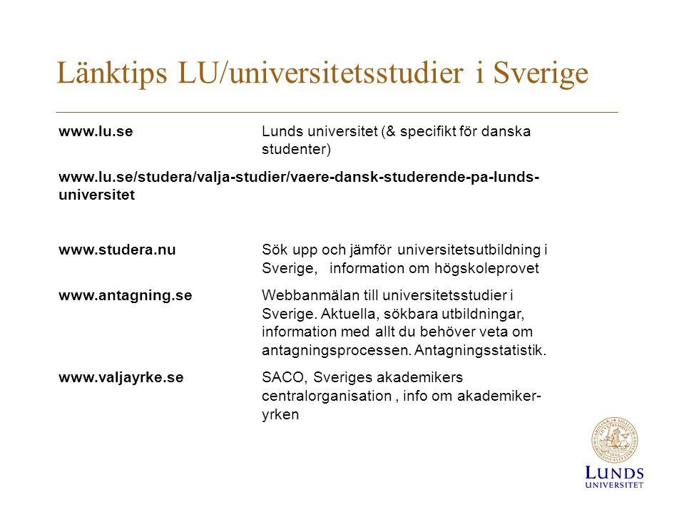 Länktips LU/universitetsstudier i Sverige