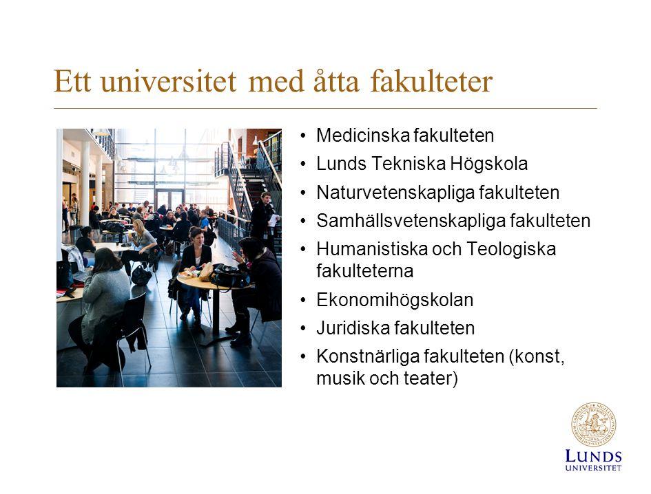 Ett universitet med åtta fakulteter