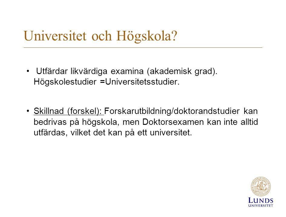 Universitet och Högskola