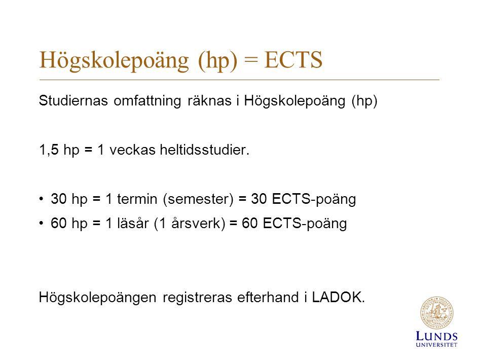 Högskolepoäng (hp) = ECTS