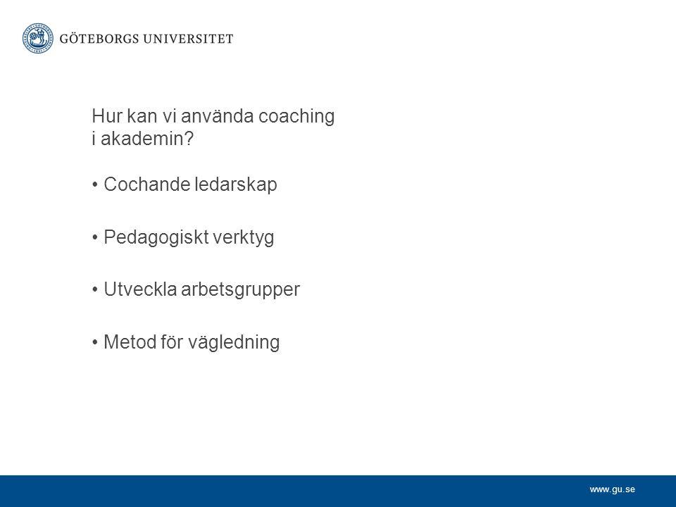 Hur kan vi använda coaching i akademin