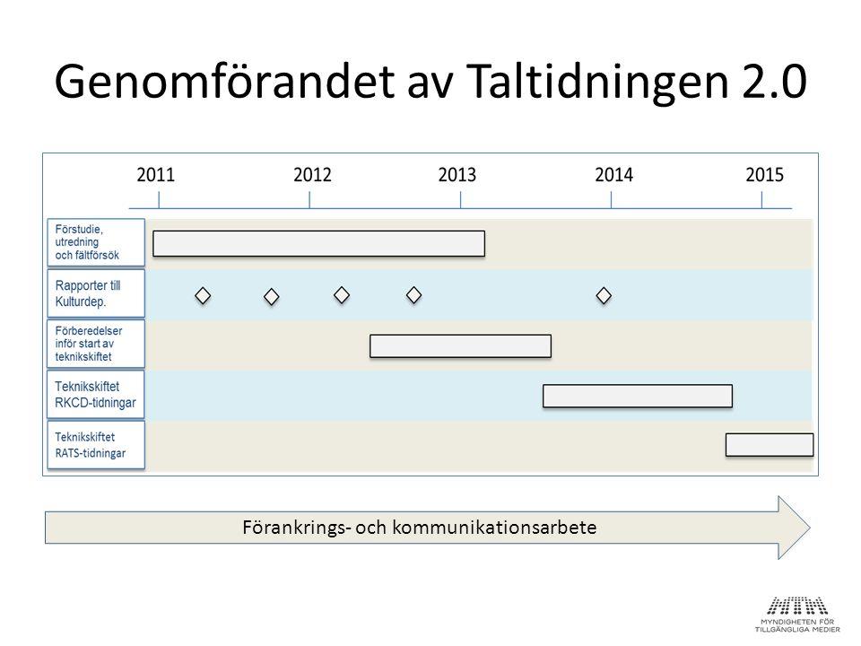 Genomförandet av Taltidningen 2.0