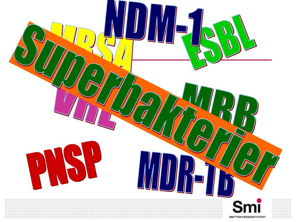 NDM-1 ESBL MRSA Superbakterier VRE MRB PNSP MDR-TB
