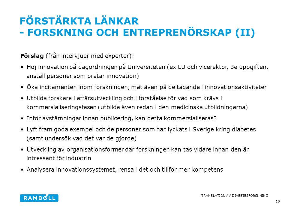 förstärkta länkar - forskning och entreprenörskap (II)