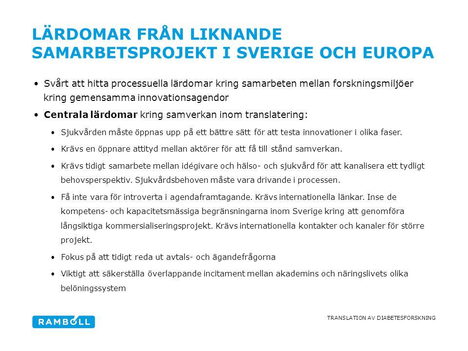 Lärdomar från liknande samarbetsprojekt i Sverige och europa