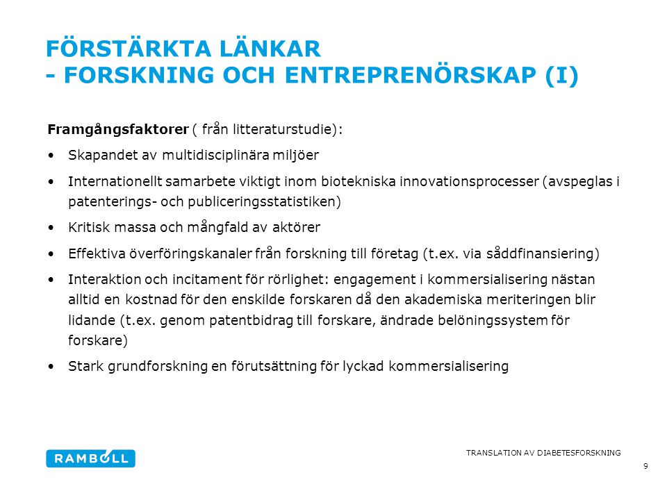 förstärkta länkar - forskning och entreprenörskap (I)