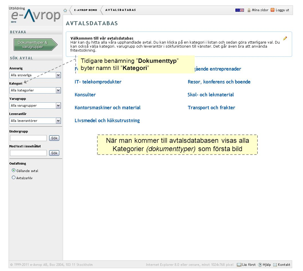 Tidigare benämning Dokumenttyp byter namn till Kategori