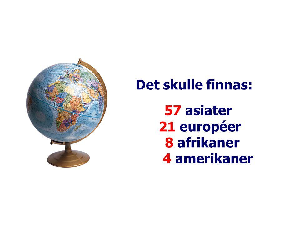 Det skulle finnas: 57 asiater 21 européer 8 afrikaner 4 amerikaner