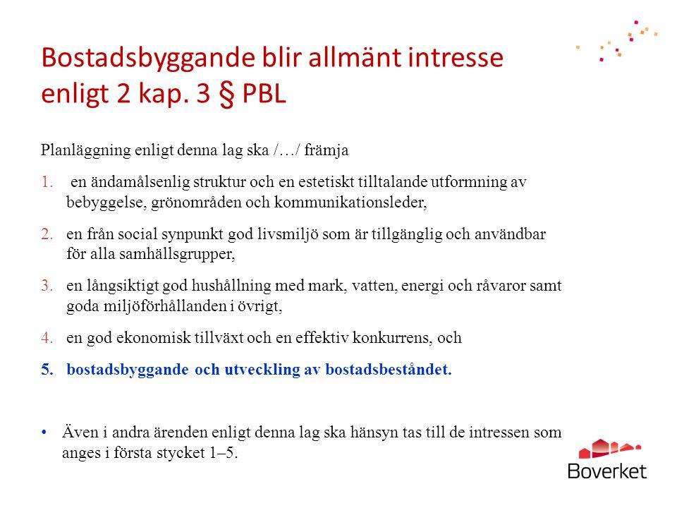 Bostadsbyggande blir allmänt intresse enligt 2 kap. 3 § PBL