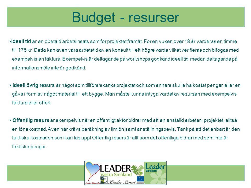Budget - resurser Ideell tid är en obetald arbetsinsats som för projektet framåt. För en vuxen över 18 år värderas en timme.