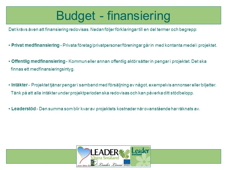 Budget - finansiering Det krävs även att finansiering redovisas. Nedan följer förklaringar till en del termer och begrepp: