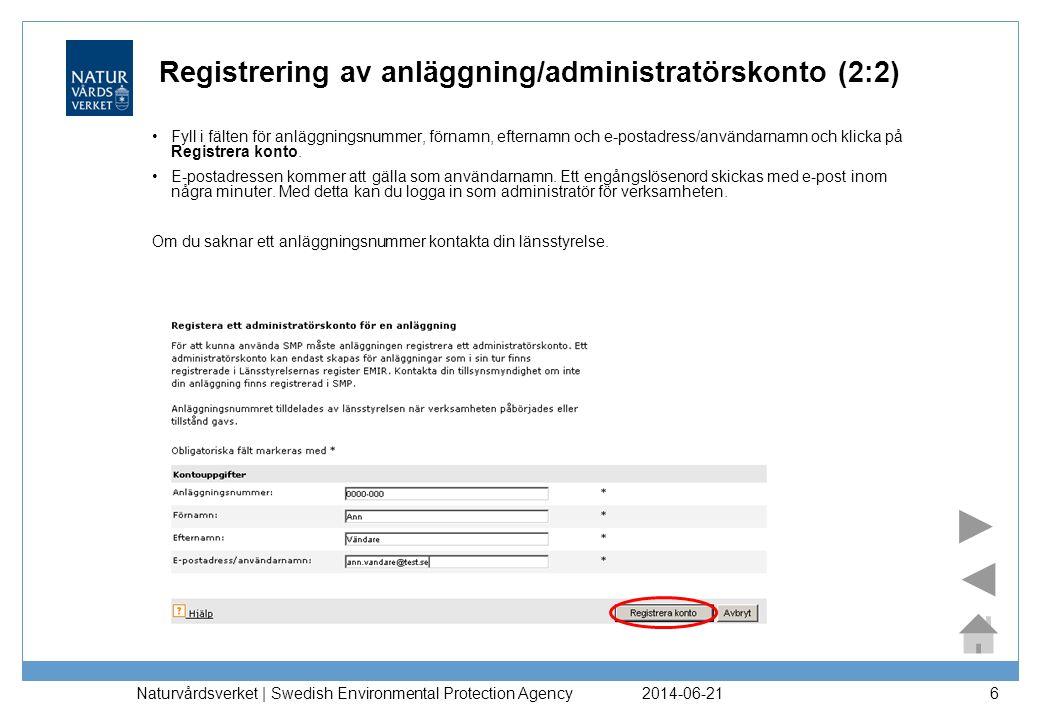 Registrering av anläggning/administratörskonto (2:2)
