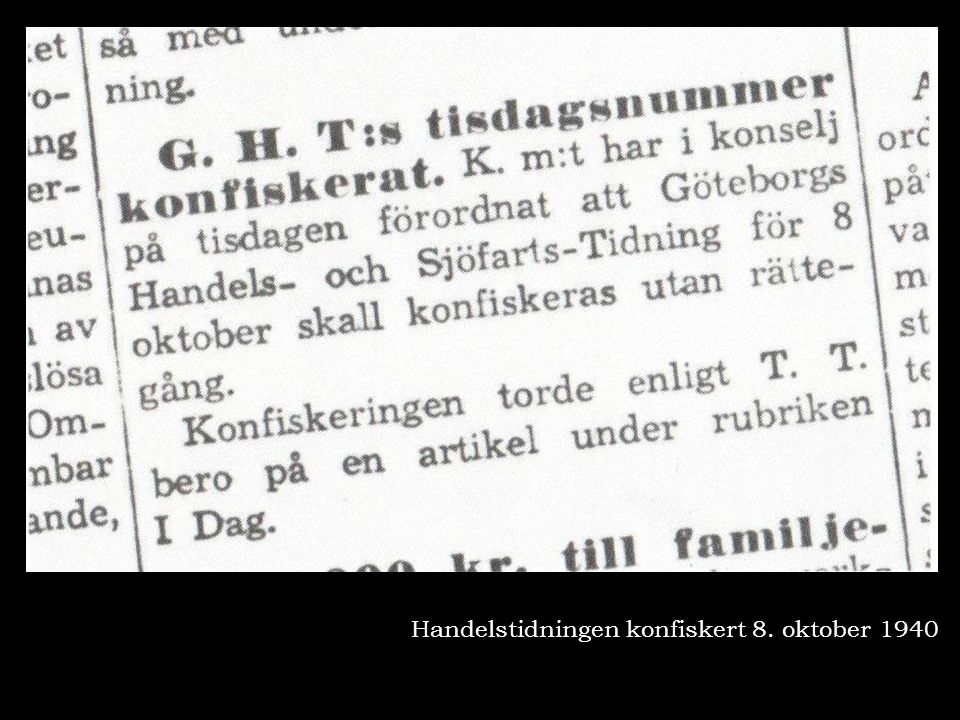 Handelstidningen konfiskert 8. oktober 1940