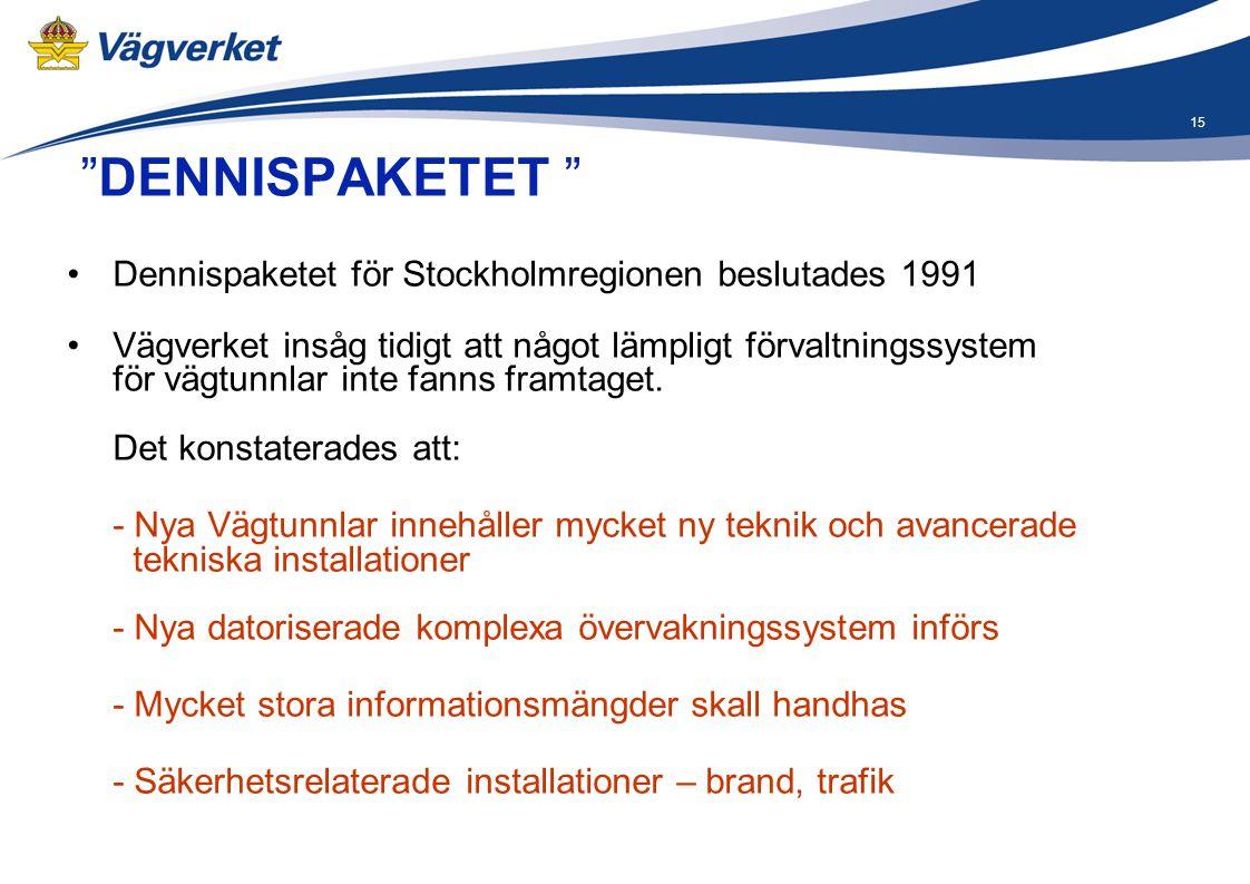 DENNISPAKETET Dennispaketet för Stockholmregionen beslutades 1991