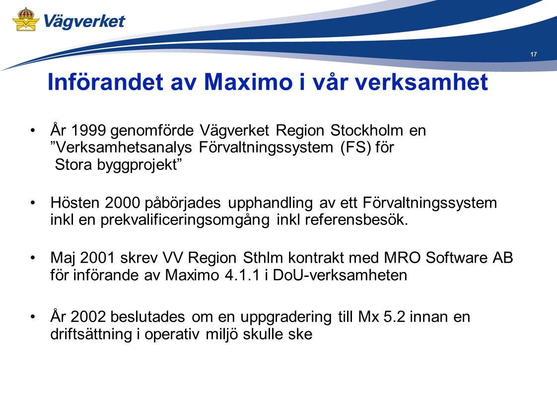 Införandet av Maximo i vår verksamhet