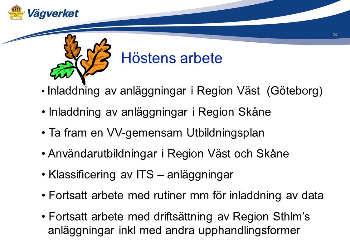 Höstens arbete Inladdning av anläggningar i Region Skåne