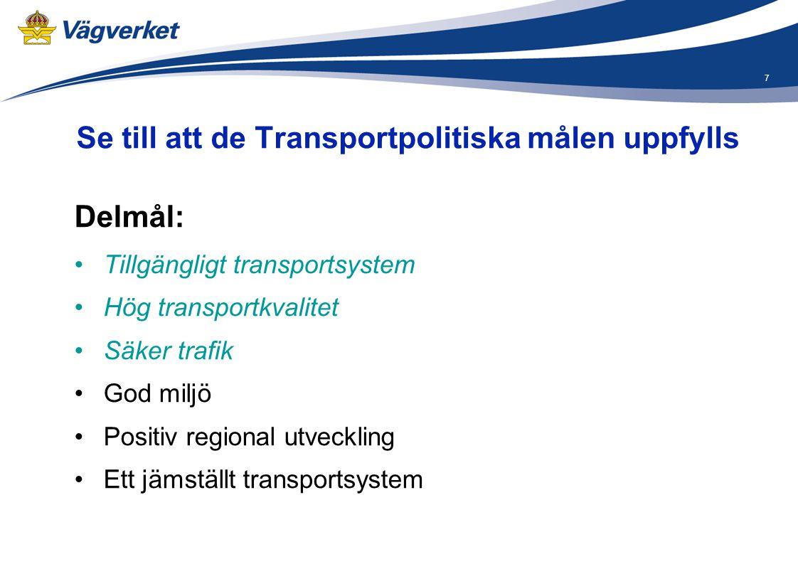 Se till att de Transportpolitiska målen uppfylls