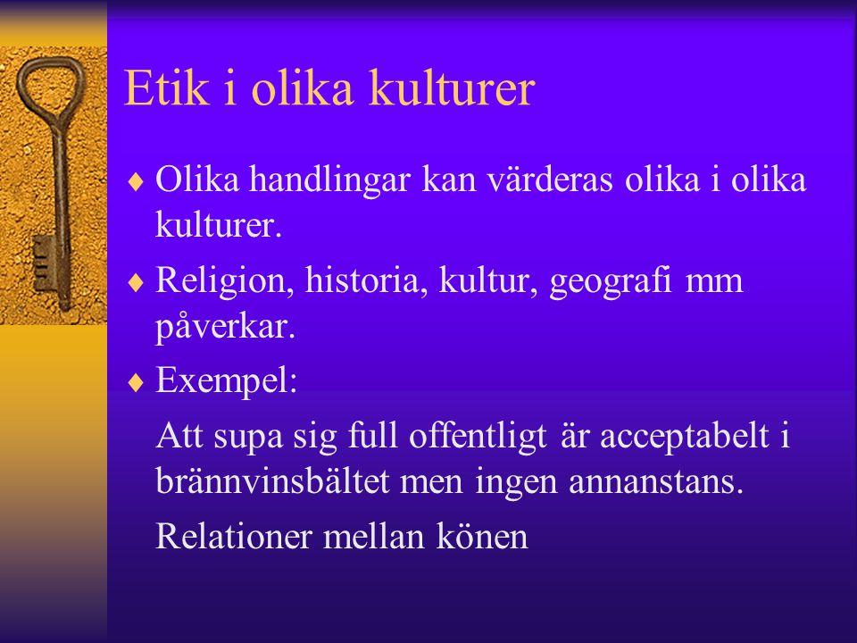 Etik i olika kulturer Olika handlingar kan värderas olika i olika kulturer. Religion, historia, kultur, geografi mm påverkar.