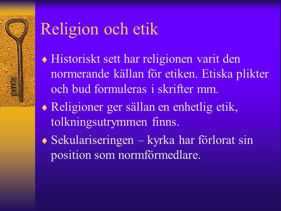 Religion och etik Historiskt sett har religionen varit den normerande källan för etiken. Etiska plikter och bud formuleras i skrifter mm.