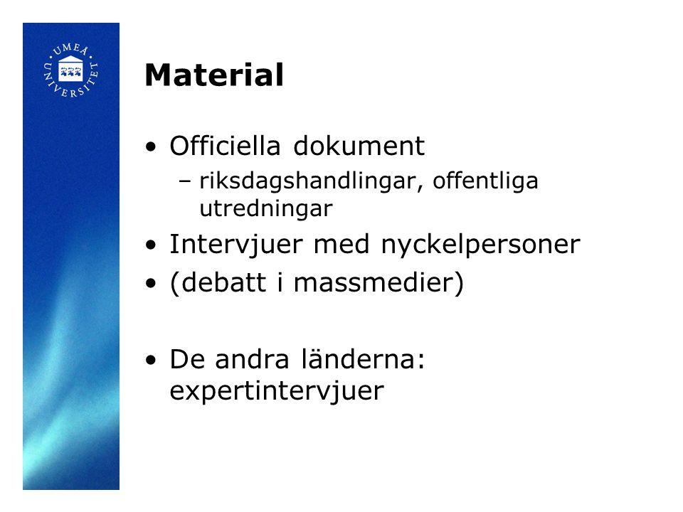 Material Officiella dokument Intervjuer med nyckelpersoner