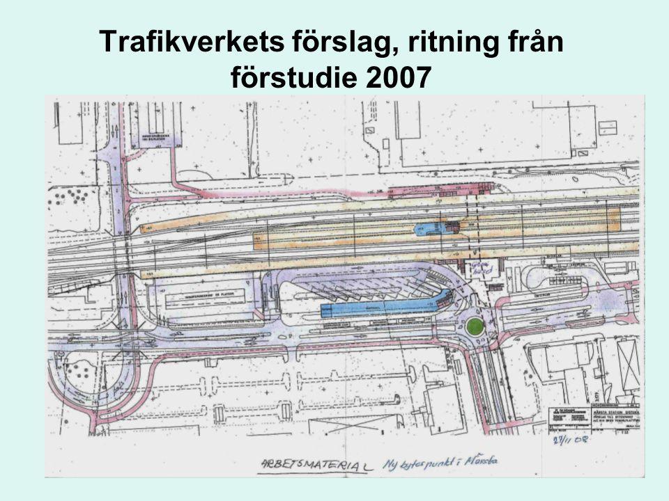 Trafikverkets förslag, ritning från förstudie 2007