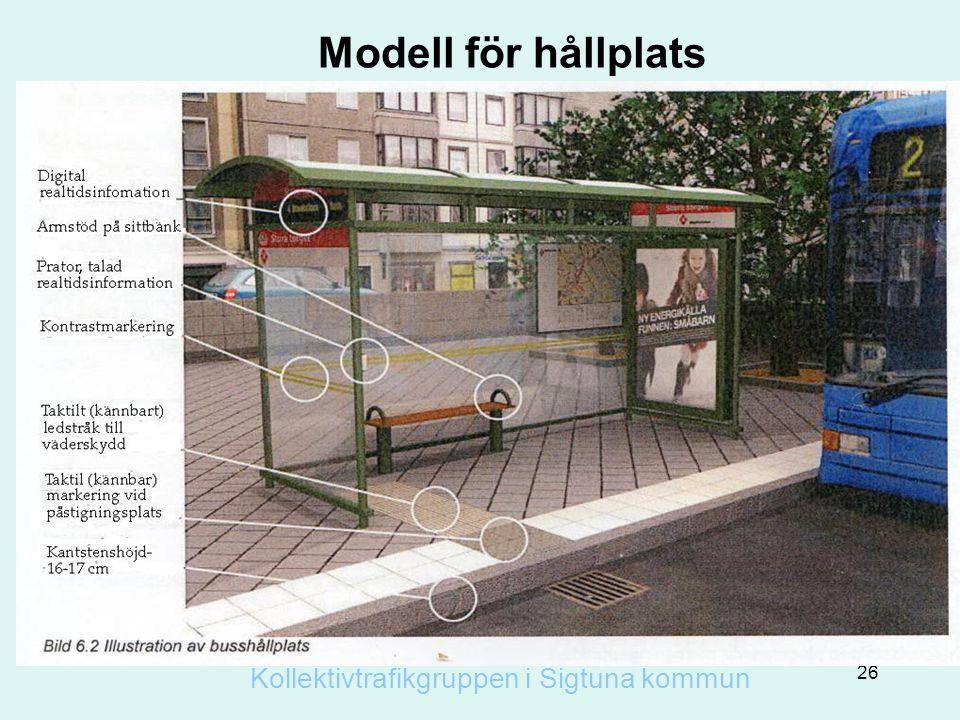 Modell för hållplats Kollektivtrafikgruppen i Sigtuna kommun